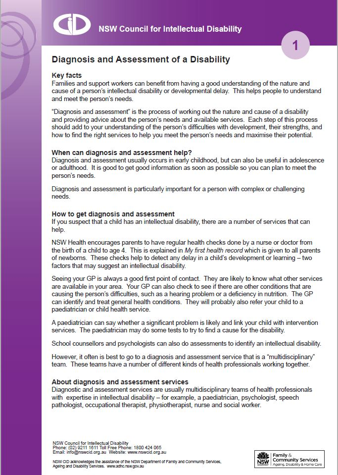 Diagnosis and assessment flyer