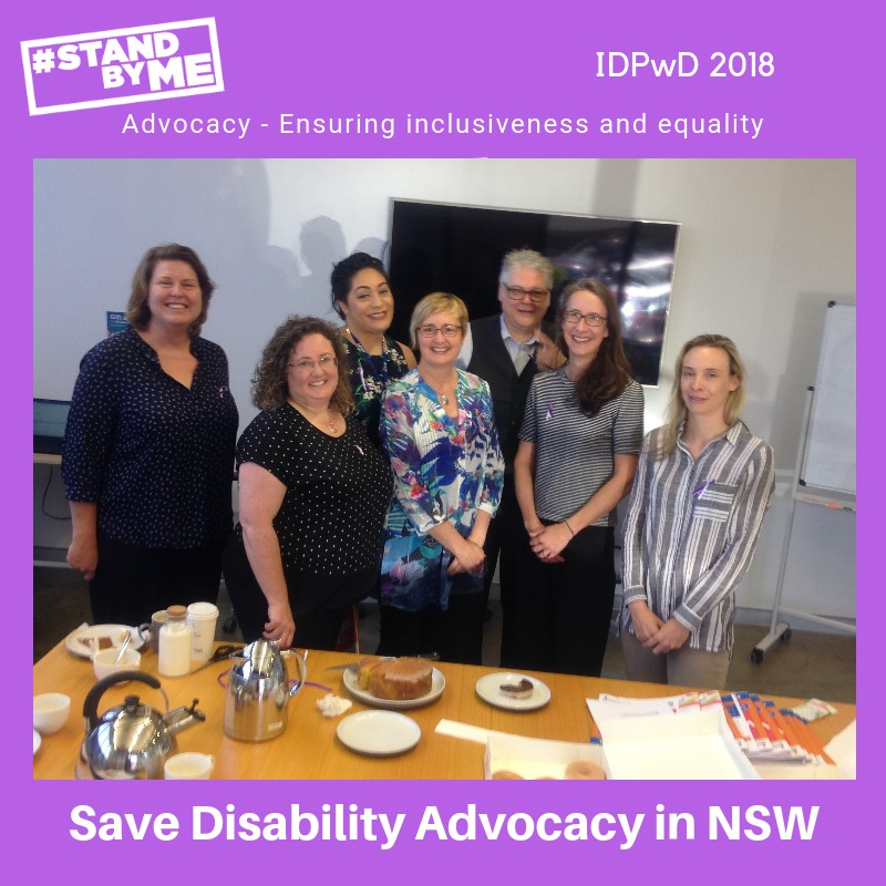 Natalie Bishop IDEAS Relationships & CRM Coordinator and a group of #standbyme supporters in Canberra for a IDPWD morning tea.