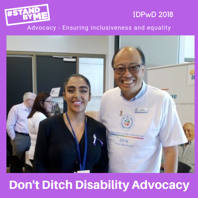 Tarren Hunt, Disability Advocate with the PossABLE Advocacy team, with a community member in Camden celebrating #IDPWD and supporting #standbyme IDEAS PossABLE Advocacy supports people with disability, their families and carers in South East and South West Sydney, Illawarra and Southern Highlands.