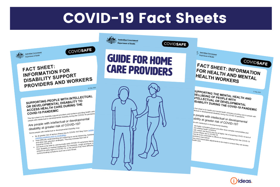 picture of covers of 3 fact sheets - with lots of words on them