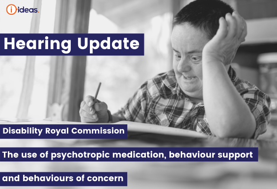 Disability Royal Commission Hearing Upgrade -   The use of psychotropic medication, behaviour support   and behaviours of concern - man with Down Syndrome looking reflective in black and white