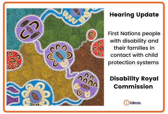 'Respectful Listening' depicts the story of The Disability Royal Commission, translated into a traditional style of art and symbols used by many of Australia's First peoples to share information and stories for thousands of years. This story is made up of seven people who are Elders and or respected members of their own communities. These seven people, the Commissioners, come from different community groups including Australia's First People, people living with disability and the LGBTIQ+ community.
