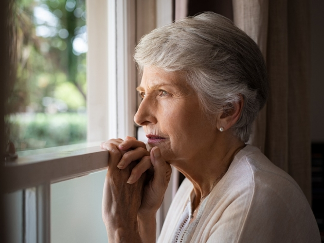 Dementia lonely senior woman