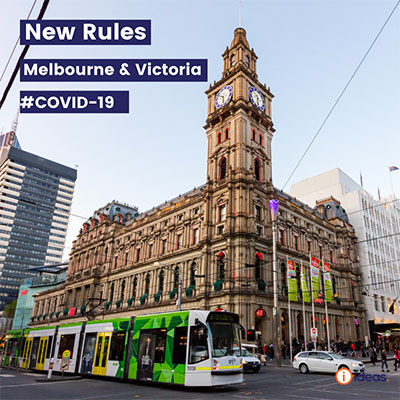 Melbourne street scape with tram and the text