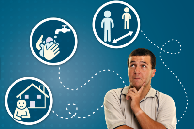 man thinking with symbols for washing hands, staying at home and social distancing