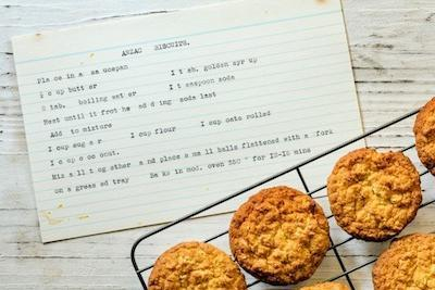 Anzac biscuits with vintage typewritten recipe