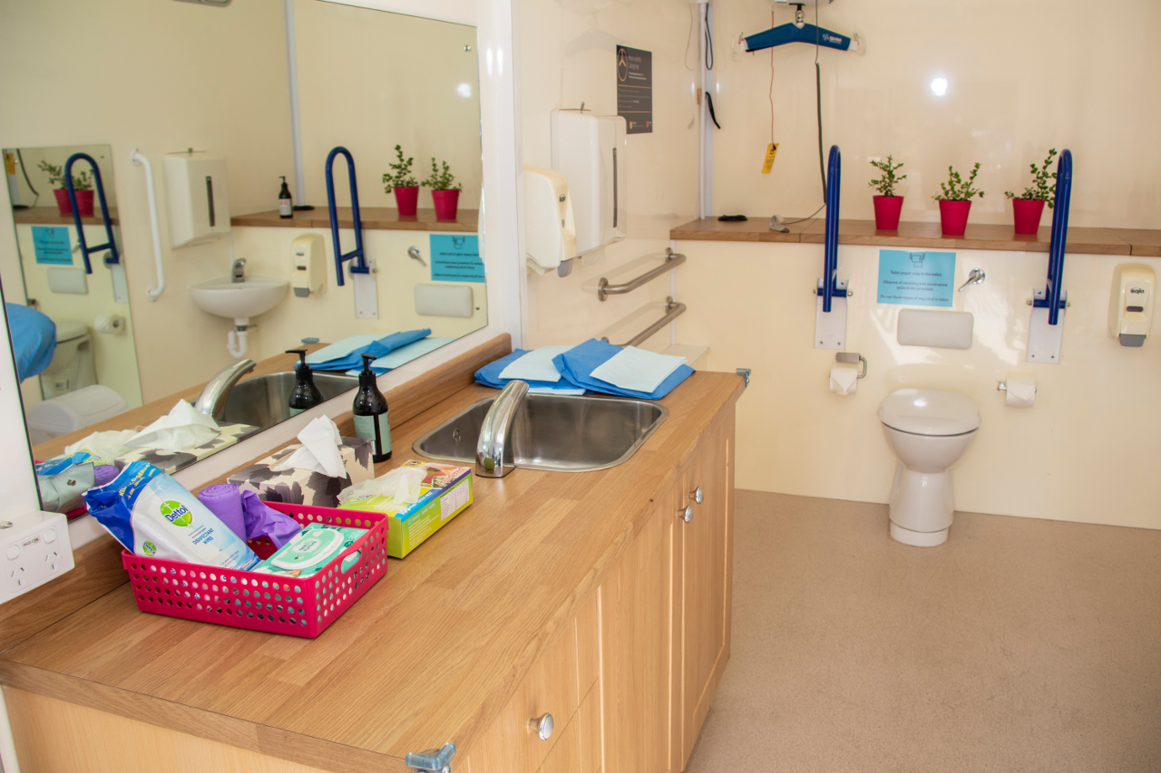 Interior shot of mobile accessible bathroom with white toilet, blue grab rails and wooden bathroom vanity and mirror in view.