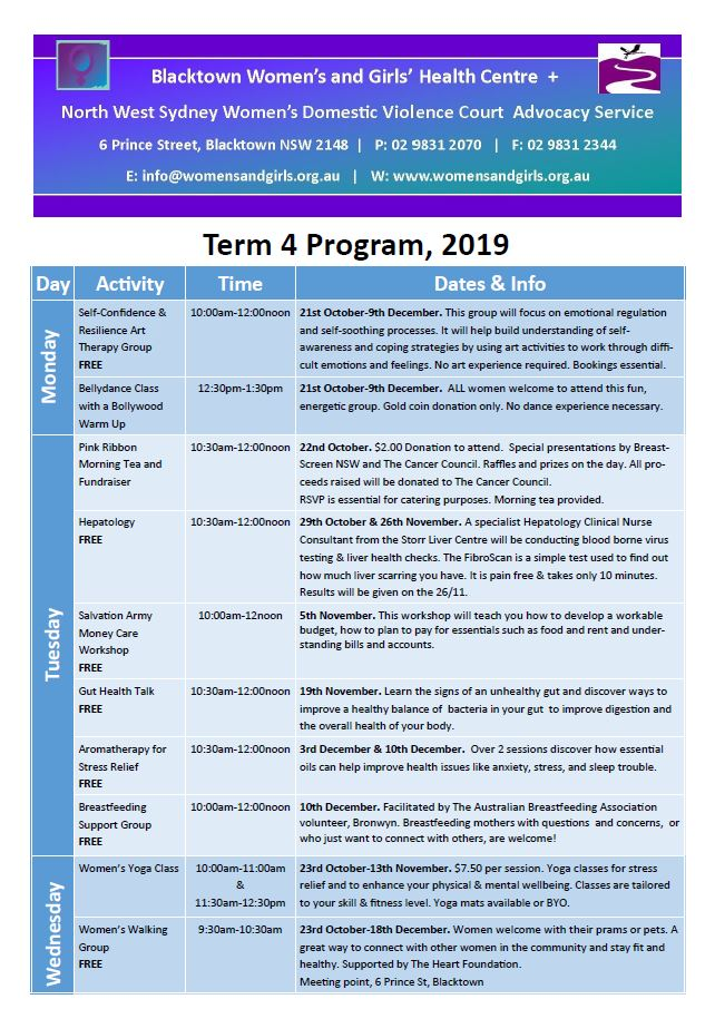 Blacktown Womens and Girls Health Centre Term 4 program
