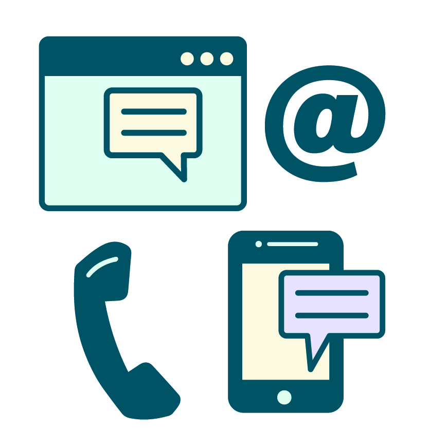Icons of chat boxes, a telephone and email