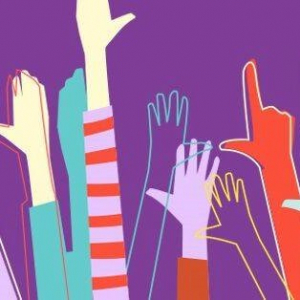 Series of hands raised on a purple background