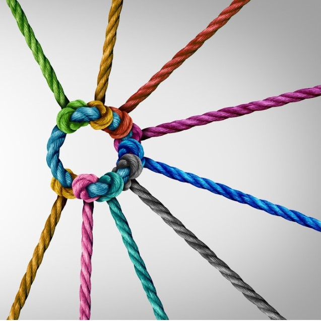 An image of ropes, each a different colour. ties to a central rope that links them all. Concept photo of diversity and connections.