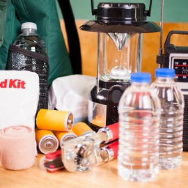 emergency supplies including water, batteries etc.