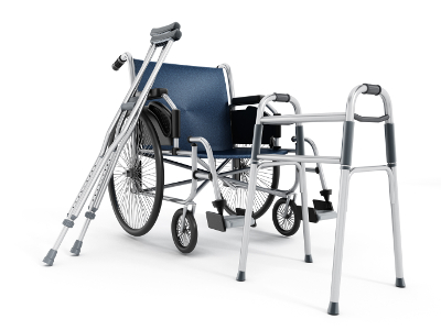 disability equipment including wheelchair, crutches and walking frame