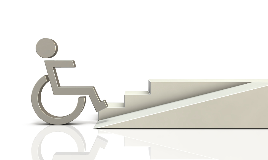 Graphic of a person in a wheelchair in front of a ramp a steps