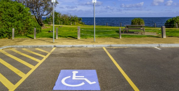 Disability parking space looking towards the ocean