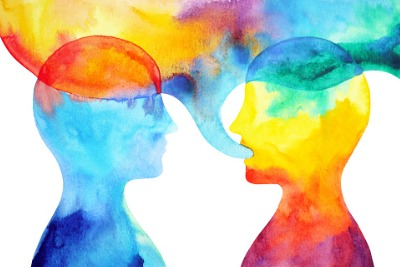 Image of rainbow watercolour silhouettes. Two people. One speaking.