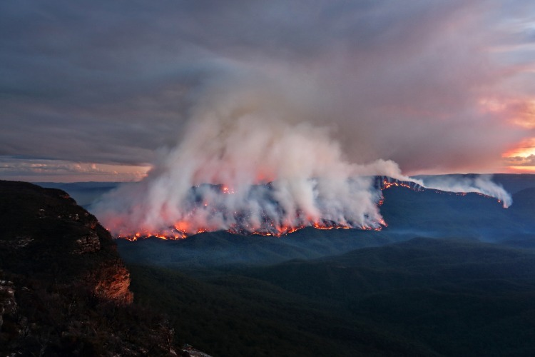 mount solitary burning in blue mountains australia