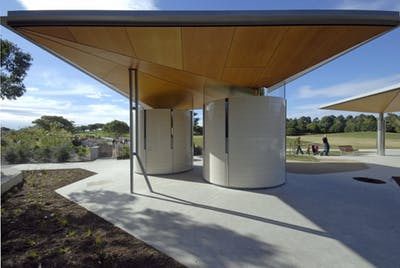 Image of cylindrical public toilet block