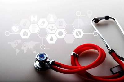 red stethoscope with hexagonal matrix of digital symbols
