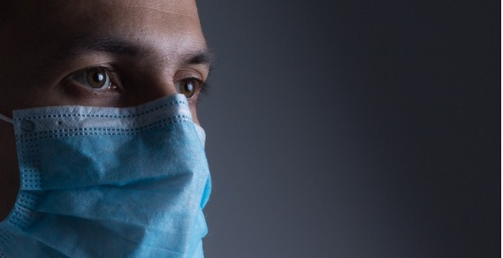 man wearing surgical face mask