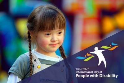 Image of young girl with Downs Syndrome. in the bottom left corrner is the logo of International Day of People with Disability.