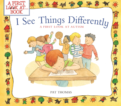 Image of children's illustrated book cover featuring a child writing at a desk and looking closely at their work.