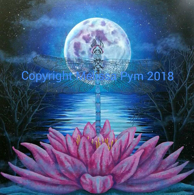 Painting of a pink lotus and silver dragonfly with a full moon