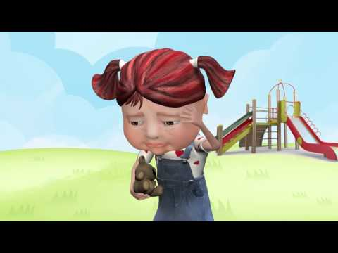 Cartoon image of a young girl in the park looking sad