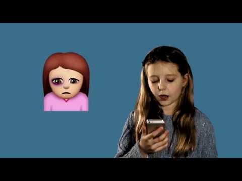 Young girl with mobile phone in her hand and a sad emoji next to her