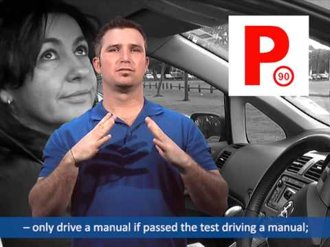 Man signing with a red P plate on the screen