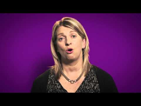 Image of a woman speaking with a purple background