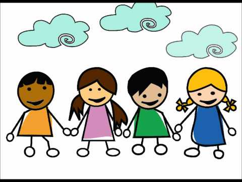 Cartoon image of 4 kids holding hands with clouds above them