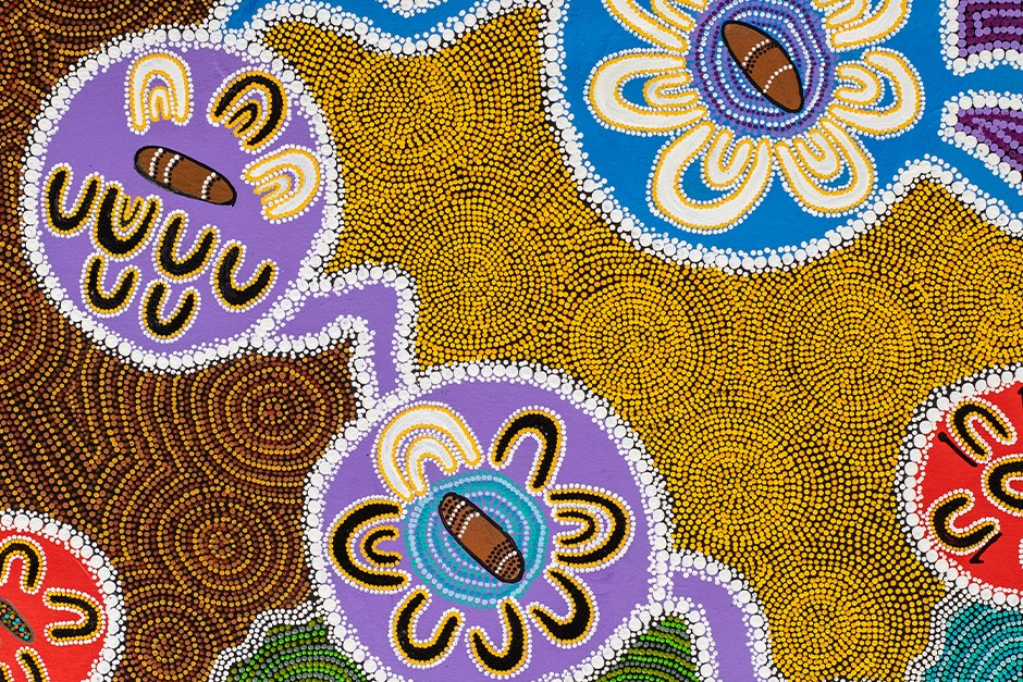 Indigenous dot painting called Respectful Listening by Wiradjuri Elder Paul Calcott
