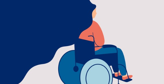 sad young woman in wheelchair with back turned