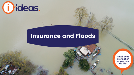 The text Insurance and Floods placed on top of an aerial image of a flooded property