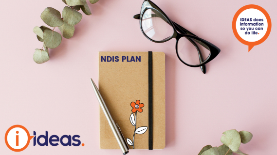 notebook on pink background with NDIS PLAN written on front. A ballpoint pen is on top of the diary with a pair of glasses in the right corner of image. Surrounded by two plants and IDEAS logo.