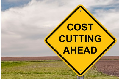 "Image of road sign which reads ""Cost cutting ahead"""