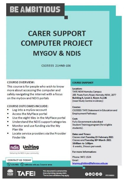 Carer Support Computer Program