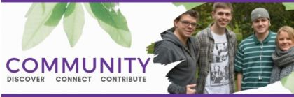 Community Discover Connect Contribute. Logo
