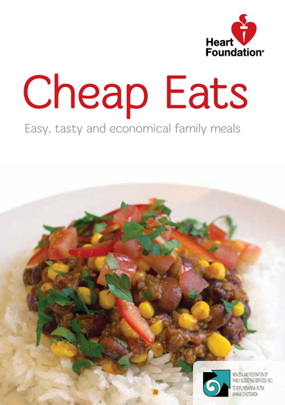 Heart Foundation Cheap Eats. Easy, tasty and economical family meals. Image of savoury mince dish on bed of rice with kernels of corn, chunks of tomato and sprinkling of coriander.