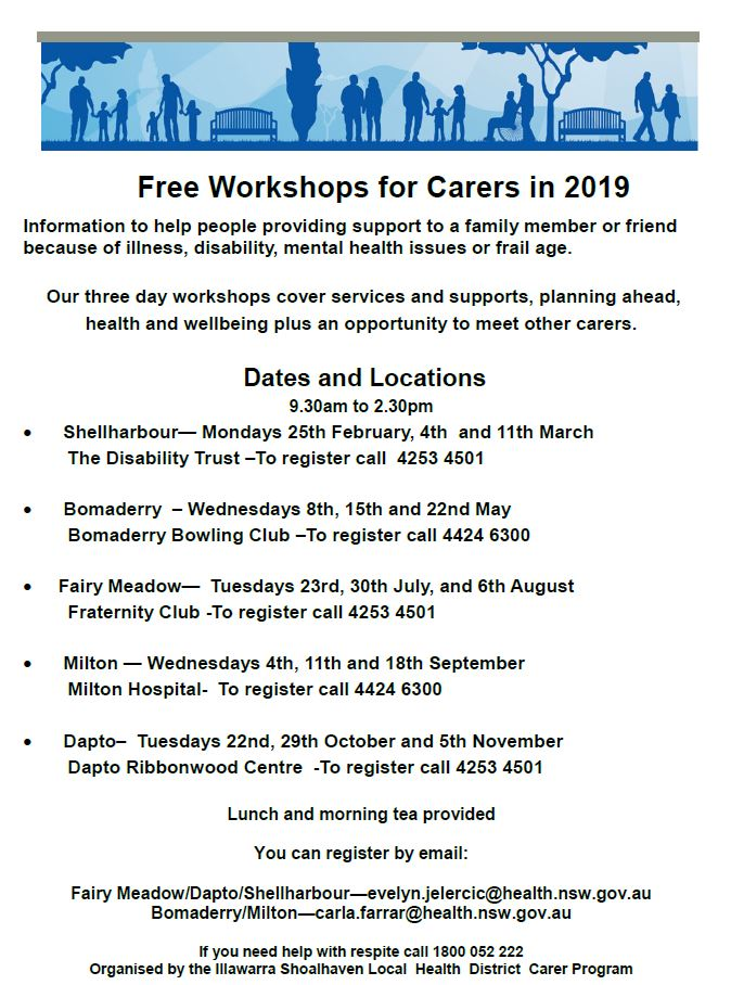 Free Workshops for Carers in 2019 Flyer