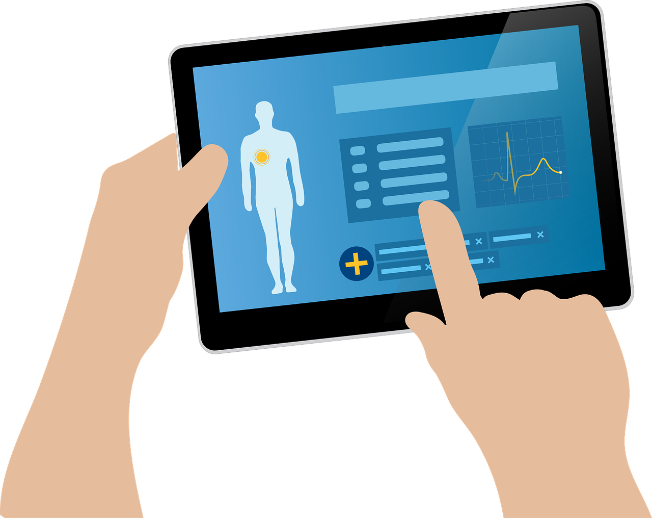 Graphic of hands holding a tablet with a health record on screen