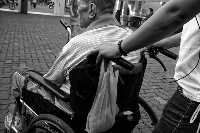 Carer pushing an elderly gentleman in a wheelchair