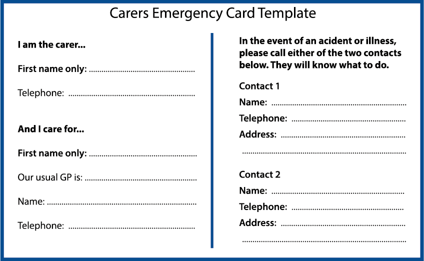 Outline of a carer's emergency plan template