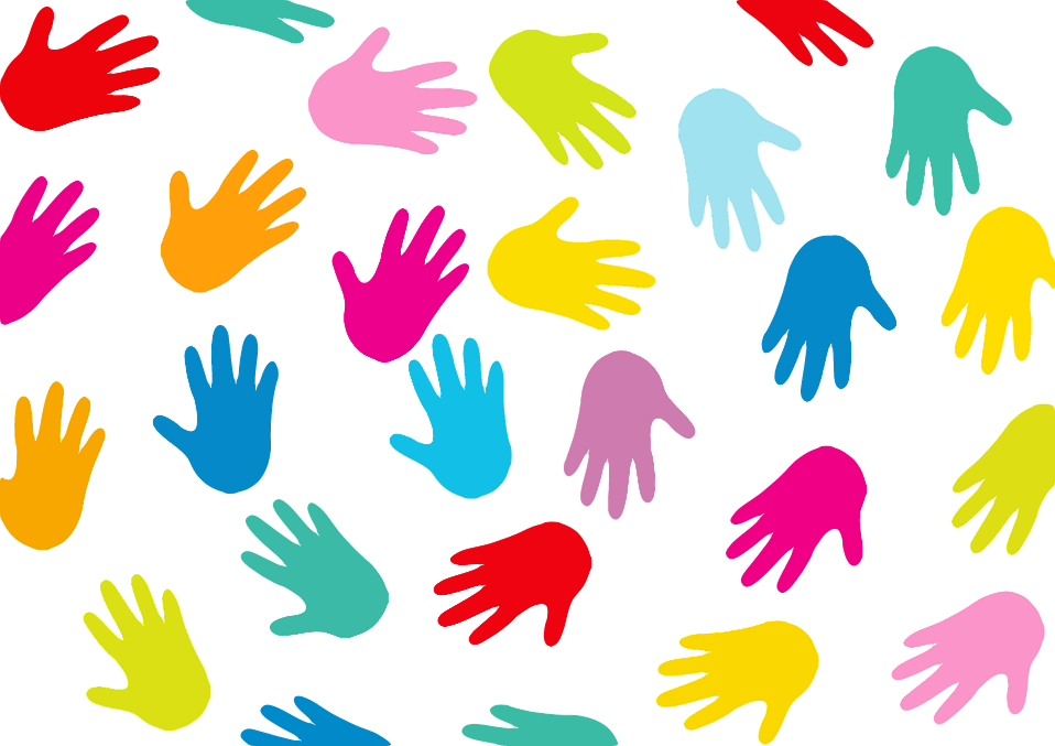 Hands forming a circle coloured in red, green, pink, yellow and blue