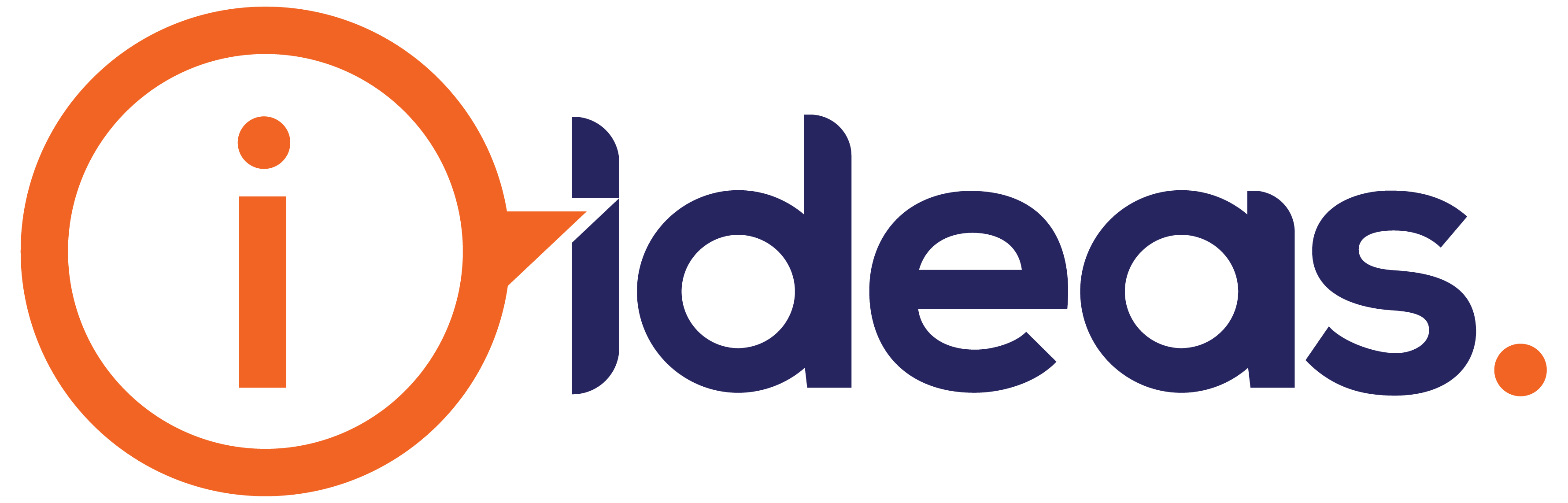 "orange lowercase i in speech bubble. navy lowercase text reads ""ideas"". Orange full-stop."