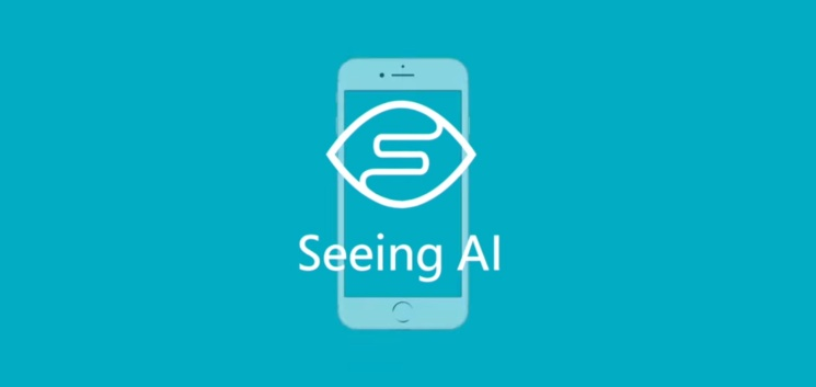 "Blue background with a mobile phone and a depiction of an eye with the words ""Seeing AI"""