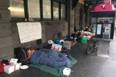 People sleeping outside on the streets