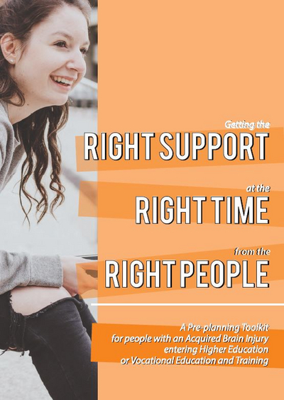 Right Support, Right Time, Right People written across an orange background with a young girl sitting and smiling
