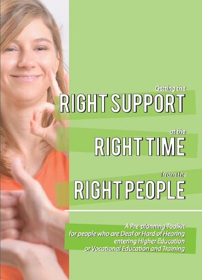 Lady signing and smiling, right support, right time, right people written across a light green background